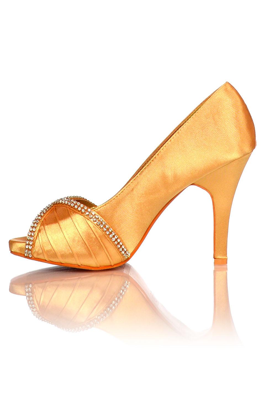 Satijnen avondschoenen / pumps goud