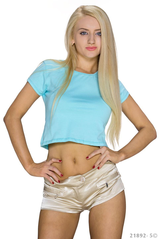 Crop-Shirt Zwembad-blauw
