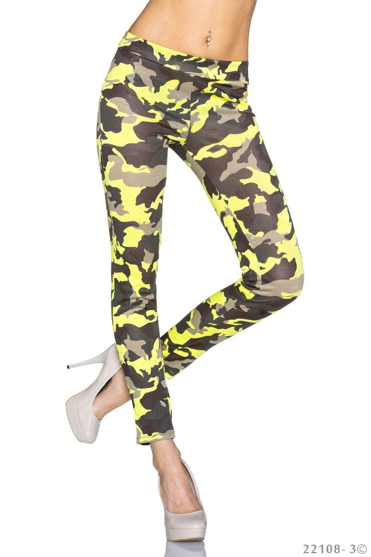 Print-Leggings Camouflage - Geel