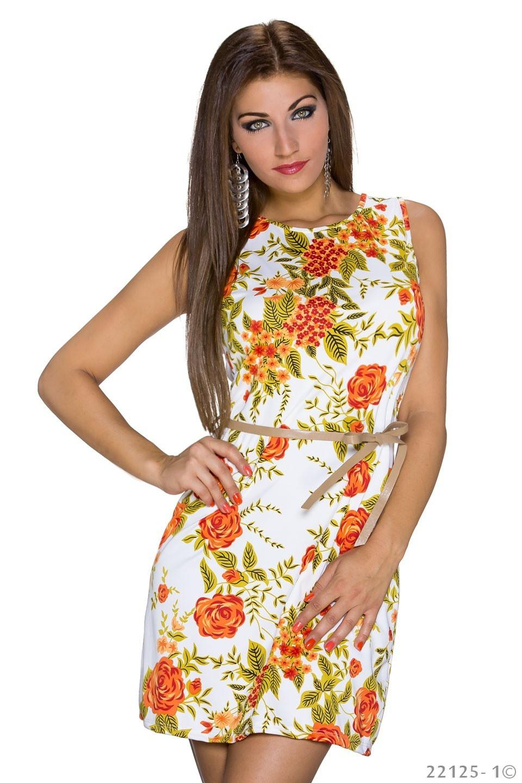 Bloemen-Mini Jurkje Oranje - Wit
