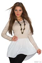 Long-Sleeved-Minidress Cream / White