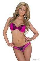 Bra + String Fuchsia / Black