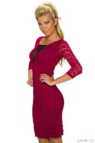 Lace-Minidress Wine-red