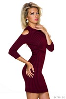 Knitted-Mini-Dress Wine-Red