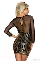 Long-Sleeved-Minidress Black / Gold