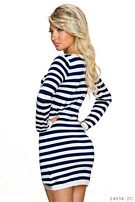 Long-Sleeved-Minidress White / Blue