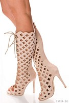 Lace-up boots Beige