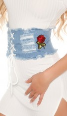 Trendy Jeans waist belt with patches Blue