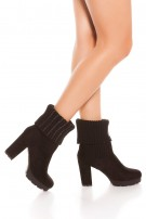 Trendy block heel ankle boots with glittering Black