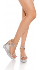 Sexy wedge heel sandal with studs Silver