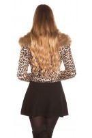 Trendy Biker Look Jacket Animal Print and Fake Fur Leo