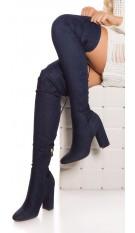 Sexy block heel jeans overknees Jeansblue