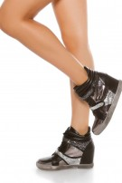 Trendy wedge sneaker with glitter Black