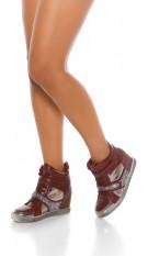 Trendy wedge sneaker with glitter Bordeaux