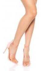 Sexy sandalen-sandaletten met hoge hakken en doorzichtige bandjes roze