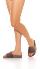 Pluizige pantoffels grijs