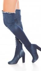 Sexy denim-spijkerstof overknee laarzen gebruikte used look blokhak jeansblauw