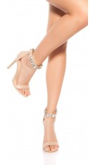 Sexy sandalen-sandaletten met hoge hakken en strass steentjes beige
