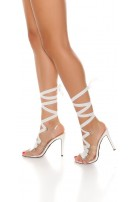 Sexy Bondage High Heel Sandals White