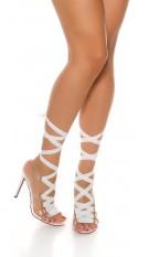 Sexy Bondage High Heel Sandals White