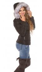 Trendy winterjacket,hoddie fake fur removable Black
