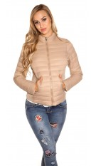 Trendy quilted transition jacket w. standup collar Beige