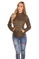 Trendy quilted transition jacket w. standup collar Khaki