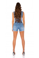 Sexy Jeansshorts Overall with Buttons and Belt LightBlue