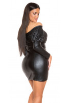 Sexy Leatherlook Longsleeve Mini dres Off Shoulder Black
