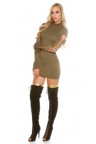 Sexy roll collarmini dress with dirty cracks Khaki