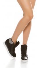 Trendy wedge sneakers with rhinestones Black