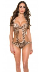 Trendy KouCla monokini with skull buckle Leo