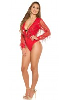 Sexy KouCla party bodysuit with sequin threads Red