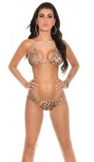 Sexy halter-bikini met slang-gesp luipaard