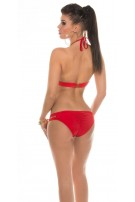 Sexy Neckholder-Bikini with Zip Red