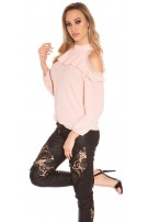 Sexy cold shoulder blouse with lace and flounce Pink