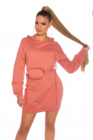 Trendy Hoodie Mini dress with fanny pack Lachs