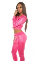 Trendy KouCla hooded quilted jacket Fuchsia