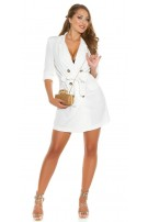 Sexy KouCla long sleeve mini dress buttoned & belt White