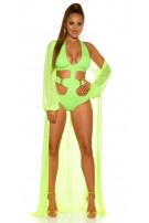 Sexy KouCla long sleeve beach kimono with belt Neonyellow