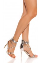 Sexy ankle strap high heel sandals Silver