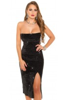 Sexy Bandeau Party- Dress with Glitter & Leg Slit Black
