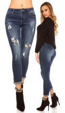 Sexy Skinny Jeans Used look with pearls Jeansblue