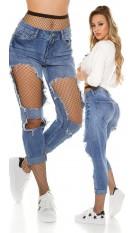 Sexy destroyed boyfriend Jeans w. fishnetstockings Jeansblue