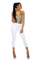 Sexy Highwaist Jeans cropped with lace details White