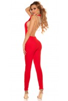 Sexy It S PaRTy TiMe jumpsuit with back chains Red