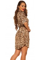 Sexy Blouses Mini Dress with Belt Leo Print Beige