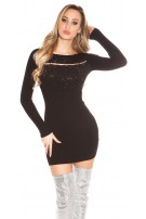 Sexy knit dress with pearls and studs Black