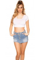 Sexy Basic Crop Shirt White