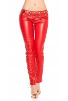 Sexy lowcut-Skinny-Pants in leatherlook with studs Red